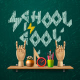 School is cool, template with schools workspace. Supplies, vector illustration stock illustration