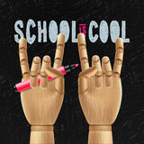 School is cool. Template with schools workspace supplies, vector illustration stock illustration