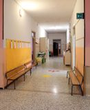 School corridor without the children. Interior of the school corridor without the children royalty free stock image