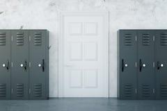 School corridor with grey lockers. School corridor interior with grey lockers and white door on concrete wall background. 3D Rendering Stock Photography