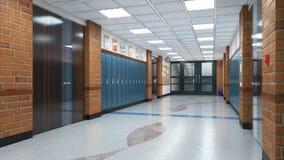 Free School Corridor Interior. Stock Photo - 186941490
