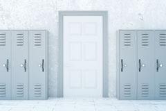 School corridor with light lockers. School corridor interior with light lockers and white door on concrete wall background. 3D Rendering Royalty Free Stock Photography