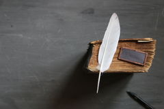 School courses idea. Feather pen and old book on blackboard. Vintage composition. School courses idea Royalty Free Stock Image