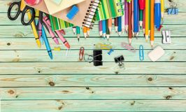 School. Crayons white collage template copyspace tools Stock Photography
