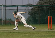 School cricket boy play cover drive shot Stock Photography