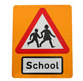 School crossing. A school crossing sign isolated on a white background Royalty Free Stock Photos