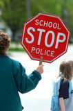 School crossing guard. A crossing guard at an elmentary school Stock Photography