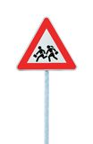 School Crossing Roadside Warning Sign Isolated. European School Crossing Roadside Warning Sign, Isolated Stock Image