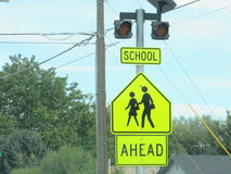 School crossing sign. Children at play Stock Photography