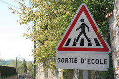 School crossing sign, France. Stock Images