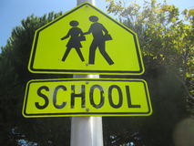 School crossing street sign Royalty Free Stock Photos