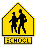 Slow Down! School Zone Ahead Stock Photo