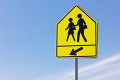 School Crosswalk. And arrow sign stock photo
