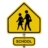 School Crosswalk Warning Sign. The yellow warning sign that children are present and be careful Stock Image
