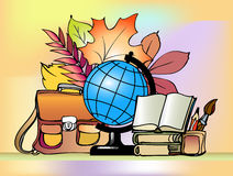 School. Day of Knowledge. Teacher's Day. School supplies and autumn leaves Stock Photo
