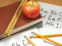 School Days. A variety of classroom items found at school royalty free stock images
