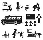 School days. Children go to school. Pictogram icon set Stock Photos
