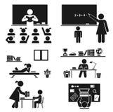 School days. Pictogram icon set. School children. royalty free illustration
