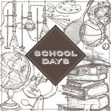 School days template with art, sport, science, literature related objects. Stock Photo