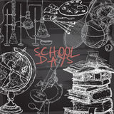 School days template with art, sport, science, literature related objects on blackboard background. Royalty Free Stock Image