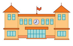 School of de universitaire bouw Vector vlak onderwijsconcept beeldverhaal Stock Foto's