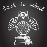School design with owl. Hand drawn school design with owl and books on on a chalkboard. Wise concept for school time. Back to school vector design. Sketch card Stock Image