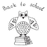 School design with owl. Hand drawn wise owl with books. Back to school design. Vector card. Sketch. Doodle illustration Stock Images