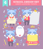 School design set with cartoon character. School design set with cute cartoon raccoon boy character and note stickers for children apparel and web templates Royalty Free Stock Photography