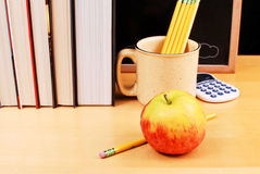 School Desk. Apple and Pencils on School Desk Royalty Free Stock Image