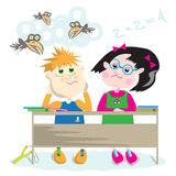 For school desk. Boy-slob gapes and flies to cloud, but diligent girl solves examples and looks with reproach Royalty Free Stock Image