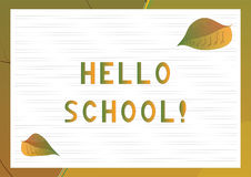 School desk background with text Hello school. Stock Images