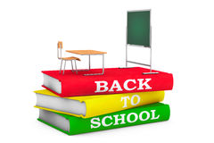 School Desk with Blackboard over Books with Back to School sign. School Desk with Blackboard over Books with Back to School sign on a white background. 3d Royalty Free Stock Photos