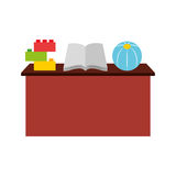School desk with book isolated icon. Vector illustration design Royalty Free Stock Images