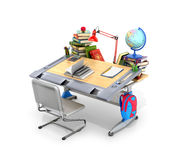 School desk with books and school supplies. On a white background. 3D illustration Royalty Free Stock Photography