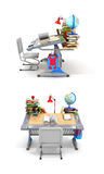 School desk with books and school supplies. On a white background. 3D illustration Stock Image