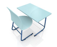 School desk and chair. Top view of a school desk with a chair on white background (3d render Royalty Free Stock Photo