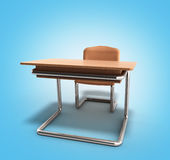 School desk and chair 3d render on blue gradient background Stock Images