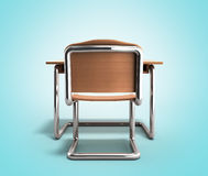 School desk and chair 3d render on gradient background Royalty Free Stock Images