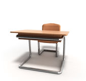 School desk and chair 3d render on white background Stock Images