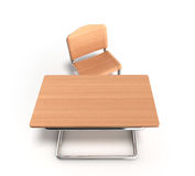 School desk and chair 3d render on white background Stock Image