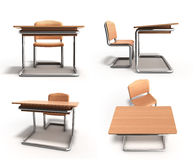 School desk and chair 3d render on white background Royalty Free Stock Images