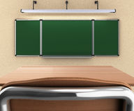 School desk and chair 3d render whith school desck Stock Photo