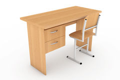 School Desk and Chair. 3d rendering Stock Photography