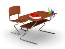 School desk and chair. Isolated 3D Royalty Free Stock Image