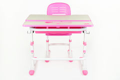 School desk and chair pink Royalty Free Stock Images