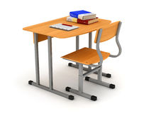 School desk and chair with stack of book Royalty Free Stock Images
