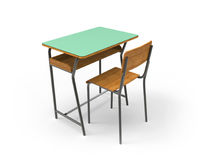 School desk with chair. On white background Stock Photography