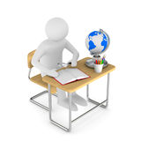 School desk and chair on white background.  3D illustrat Stock Photography