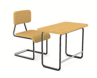 School desk and chair on white background Royalty Free Stock Photo