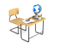 School desk and chair on white background. Isolated 3D illustrat Royalty Free Stock Image